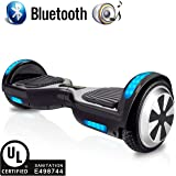 RAYHIGH Hoverboard Two-wheel Self-balancing Scooter with Bluetooth Speaker - UL2272 Certified Hover Board(9.6Km/hr Max 225lbs Max) with 6.5'' Aluminum Alloy Wheels,250W Dual Motor-Black