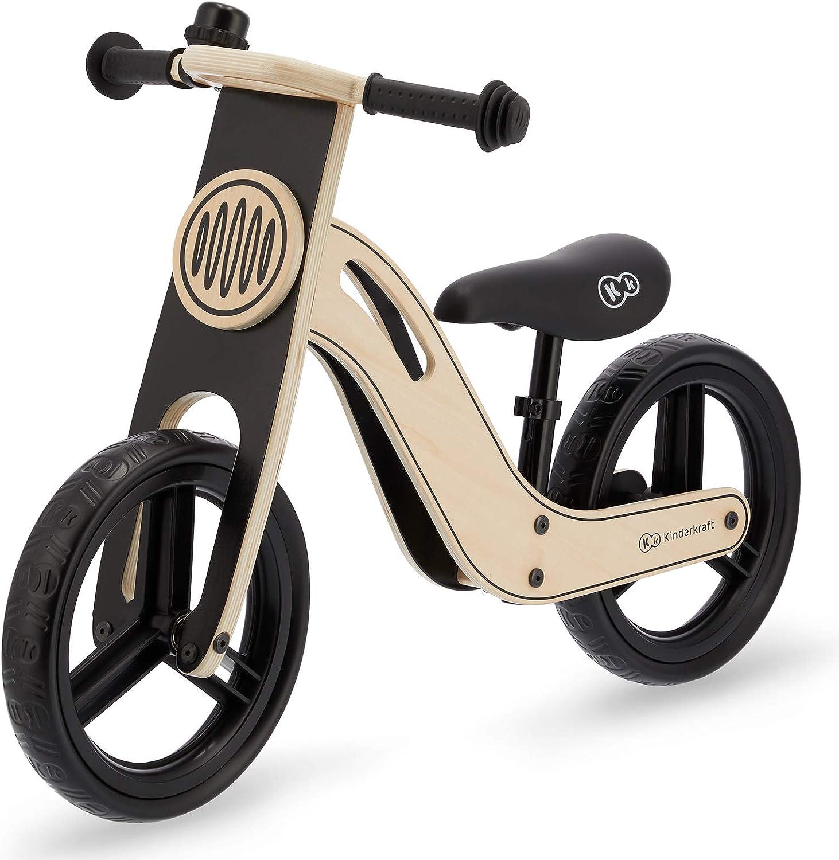 Kinderkraft Bicicleta sin Pedales UNIQ, Ultraligera, de Madera, 2+ Años, Negro