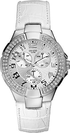 d9bb29de78 Guess - W11008L1 - Montre Femme - Quartz Analogique - Cadran Argent - Bracelet  Cuir Blanc