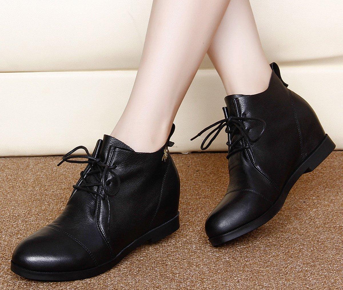 YTTY Bottes Plates dans l'augHommestation des Bottes en Dentelle Chaussures Décontractées Et Chaussures De Cheville Noir 35