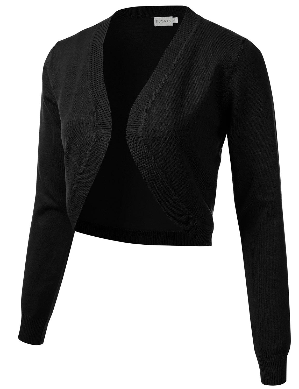 FLORIA Womens Cropped Open Front Bolero Shrug Long Sleeve Knit Cardigan Black L
