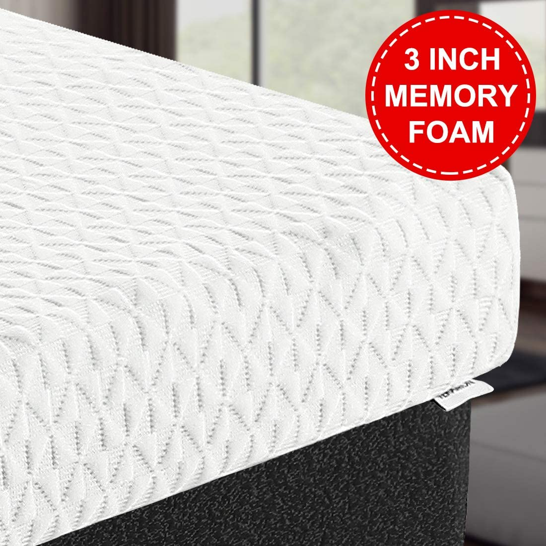 TEKAMON 3 Inch 7-Zone Cool Gel Memory Foam Mattress Topper,Relieves Pressure Points,with Removable Hypoallergenic & Washable Cooling Bamboo Cover - Twin XL