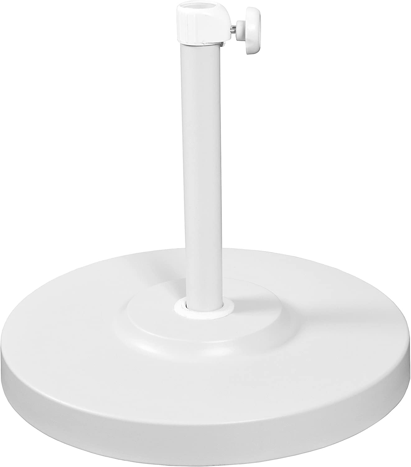 California Umbrella 50 lbs. Round Concrete Weighted Powdercoated Steel Umbrella Base, White Frame