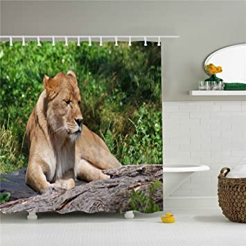Animal Lion Shower Curtain Rings Size 69x84 Inch