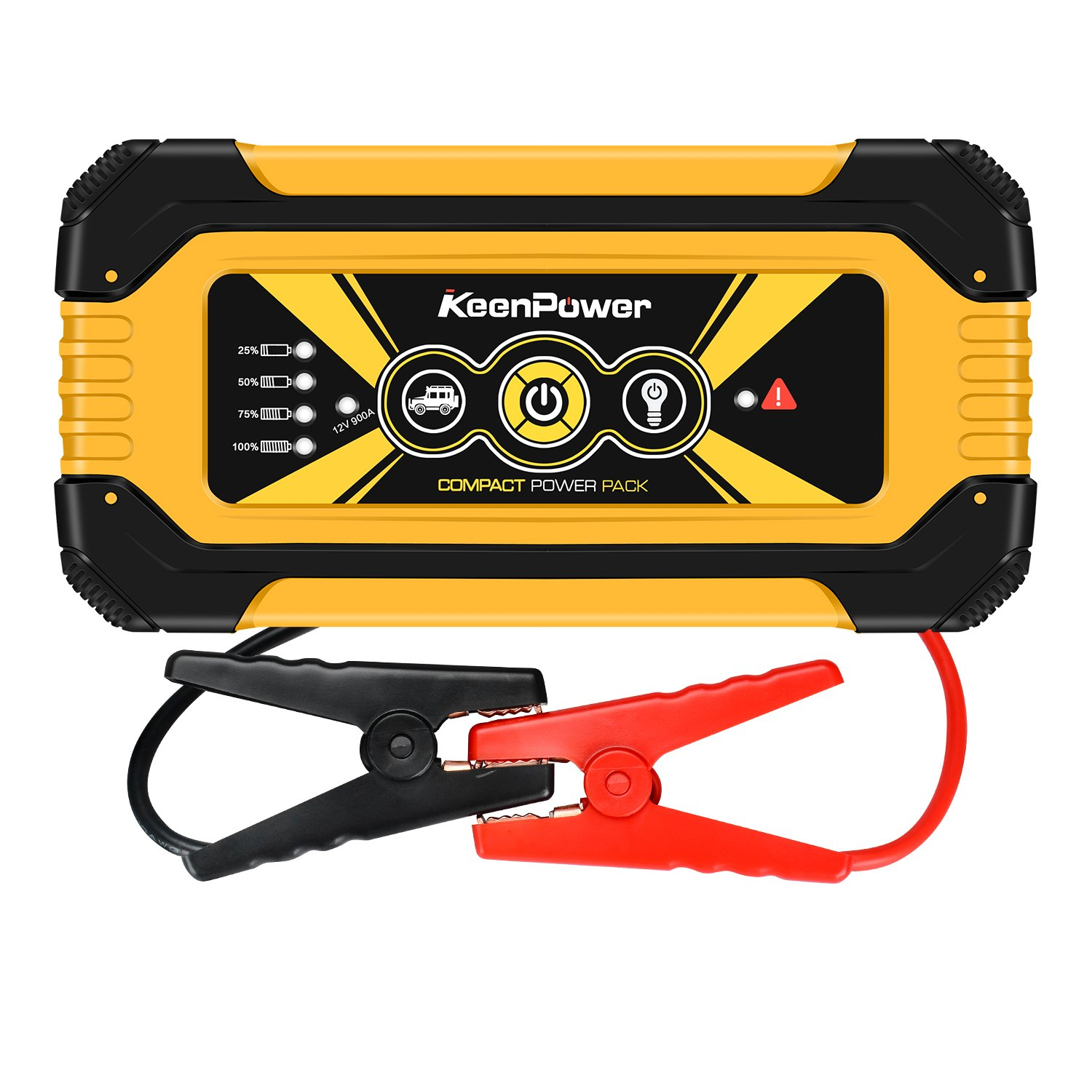 Keenpower Portable Car Jump Starter 900A Peak 18000mAH (Up to 6.0L Gas Engine) Auto Battery Booster Power Pack Phone Power Bank With Smart Charging Ports (900A YELLOW)