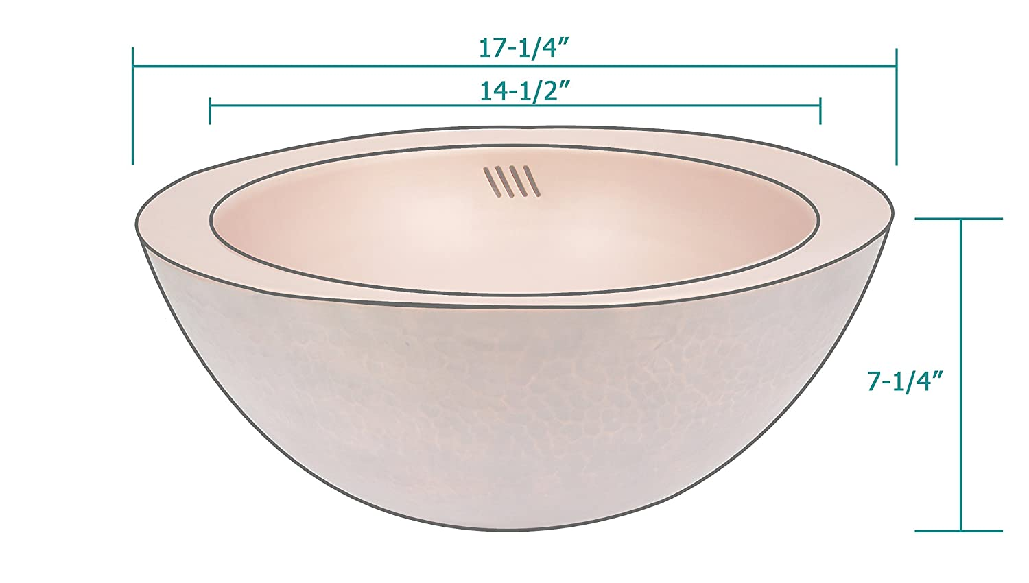 Sinda Industry V4 Copper Bathroom Sink with Overflow Handmade by Sinda Copper Round 17.25x7.25 Pop-up Stopper Included Vessel Mount Antique Copper