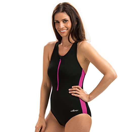 Dolfin Zip Front One Piece Swimsuit at Amazon Women s Clothing store  7922bddae