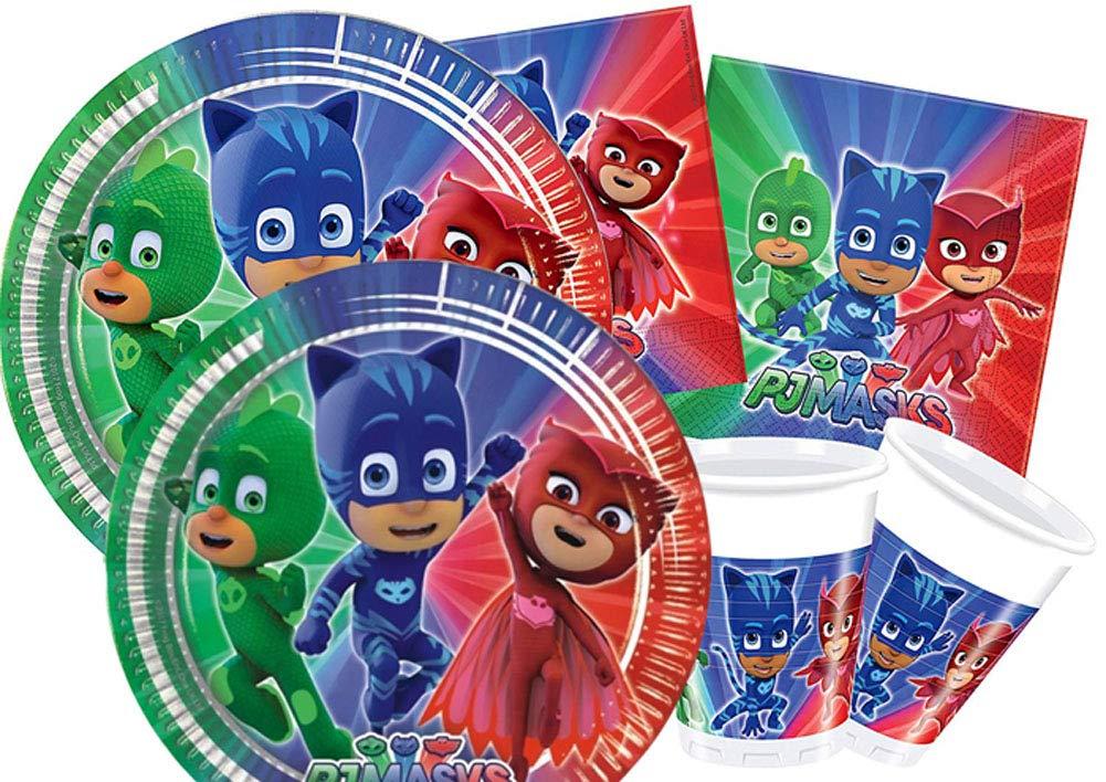 36 pi/èces : 8 Assiettes, 20 Serviettes, 8 gobelets Mon Heros Kit Anniversaire PJ Masks Pyjamasques pour 8 Enfants