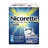Nicorette Nicotine Gum White Ice Mint 2 milligram Stop Smoking Aid 160 count