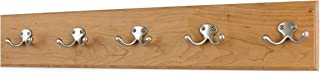 """product image for PegandRail Cherry Coat Rack with Satin Nickle Double Style Hooks 4.5"""" Ultra Wide (Natural, 25.5"""" x 4.5"""" with 5 Hooks)"""