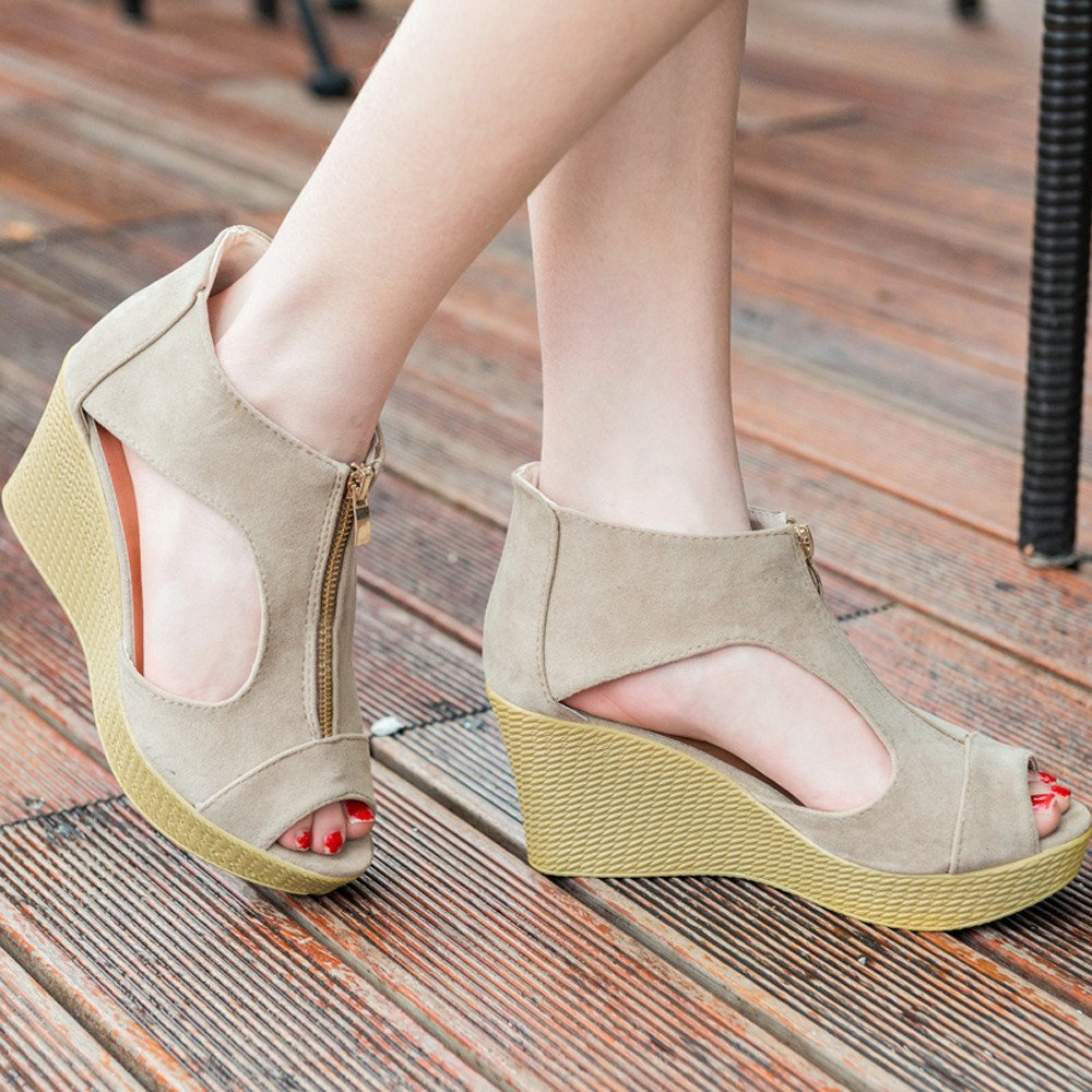 Women Wedges Sandals Summer Beach Sandals Casual Peep Toe Platform Shoes for Holiday by JSPOYOU
