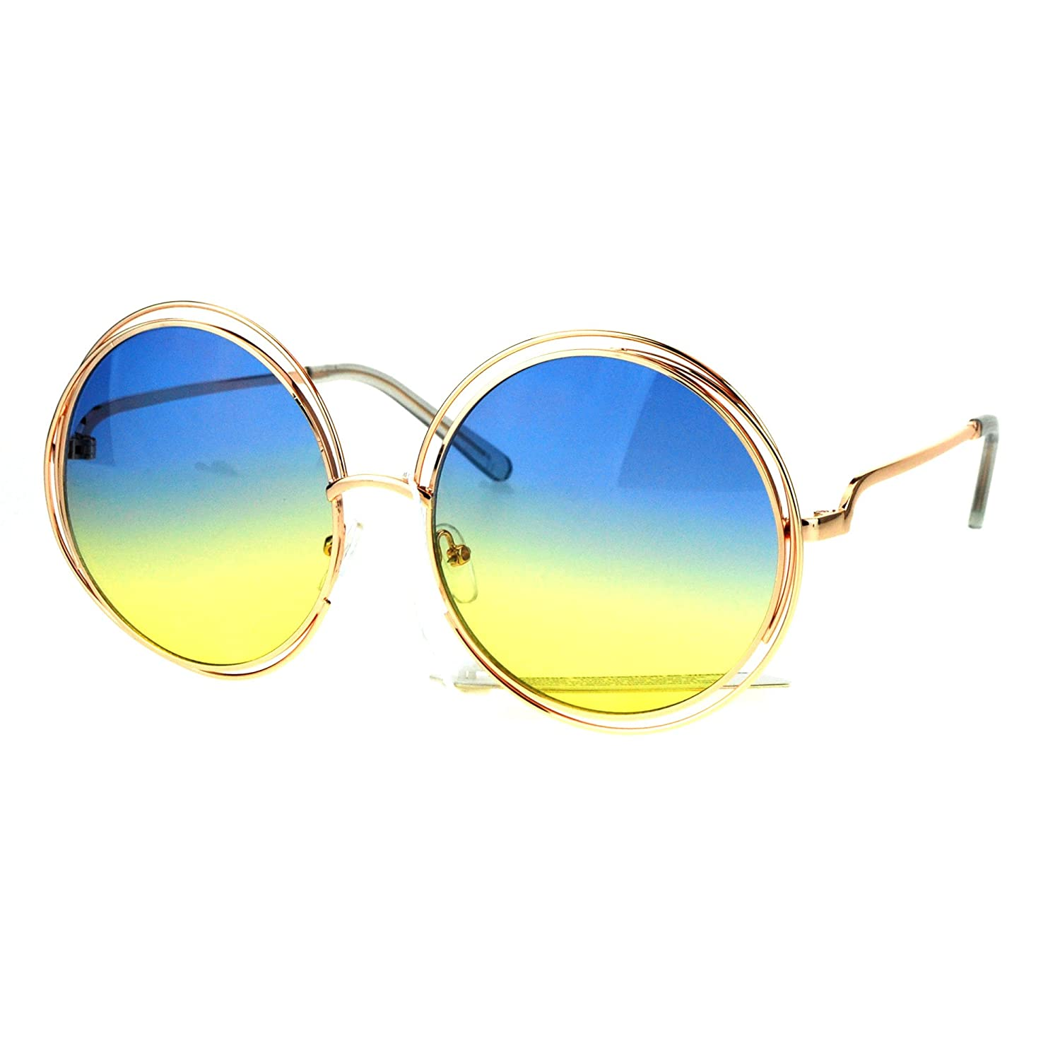 7478cb4520e Amazon.com  Oversized Sunglasses Rose Gold Metal Wire Round Frame Blue Yellow  Ombre Lens  Clothing