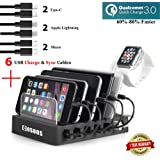 Fastest Charging Station with 6 USB Cables, QC 3.0,iWatch Holder,COSOOS 6-Port USB Quick Charging Stand,Docking Station Organizer Hub for iPhone,iPad,iWatch,Samsung,LG,Nexus,Phone,Tablets,Kindle