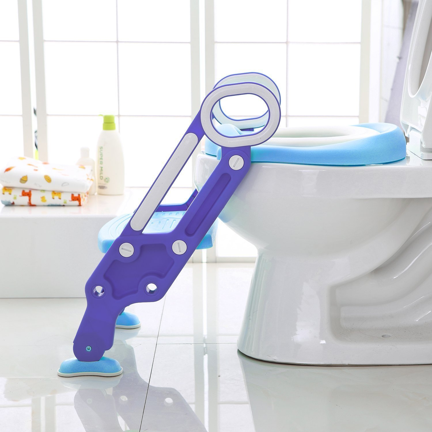 Potty Toilet Trainer Seat with Step Stool Ladder, Adjustable Toddler Toilet Ladder Trainer with Handles & Soft Cushion ,Non-Slip (Blue) by jocabo