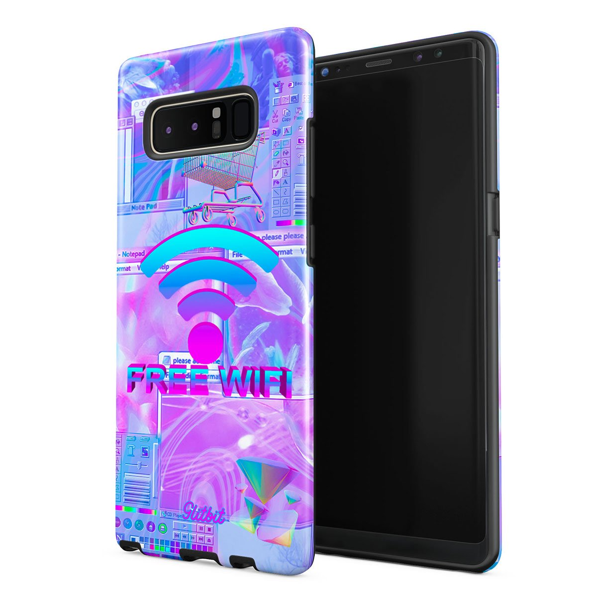 Glitbit Compatible with Samsung Galaxy Note 8 Case Free WiFi Vaporwave Oldschool Retro 80s 90s Purple Aesthetic Computer Glitch Shockproof Dual Layer Hard Shell + Silicone Protective Cover by Glitbit