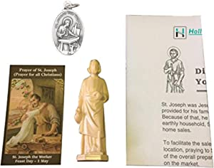 Saint Joseph Home Selling Kit with Small Statue Medal Prayer Card and Use Guide, Complete Saint Joseph Home Sale Kit with Medal Statue Holy Card and Instructions