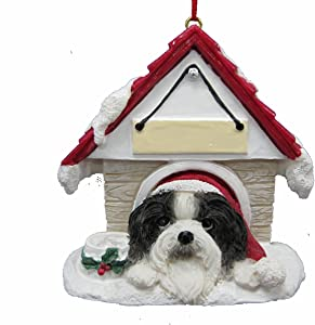 """Shih Tzu Black and White Ornament A Great Gift For Shih Tzu Owners Hand Painted and Easily Personalized """"Doghouse Ornament"""" With Magnetic Back"""