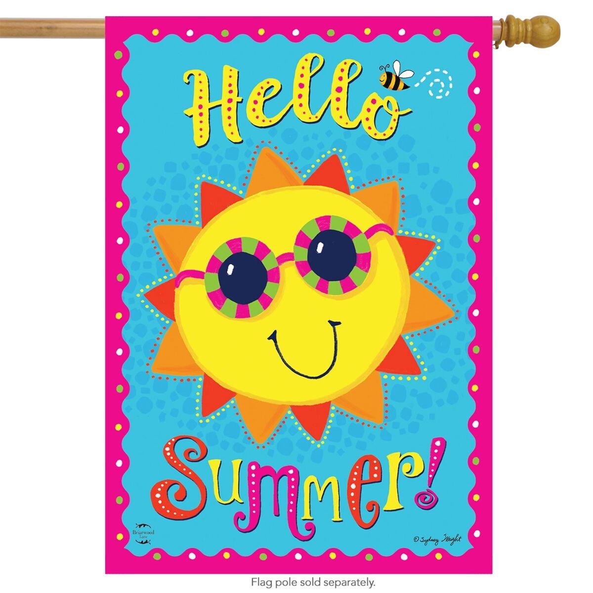 "Summer Sunface Burlap House Flag Seasonal Sunshine 28/"" x 40/"" Briarwood Lane"