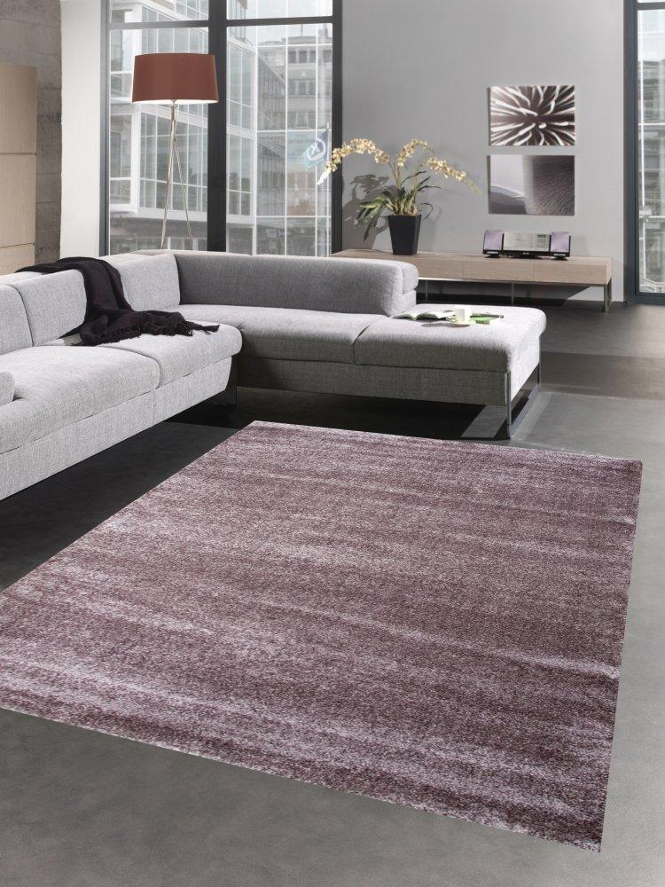 Carpetia Moderner Teppich Wohnzimmerteppich Uni einfarbig lila aubergine Größe 200 x 290 cm