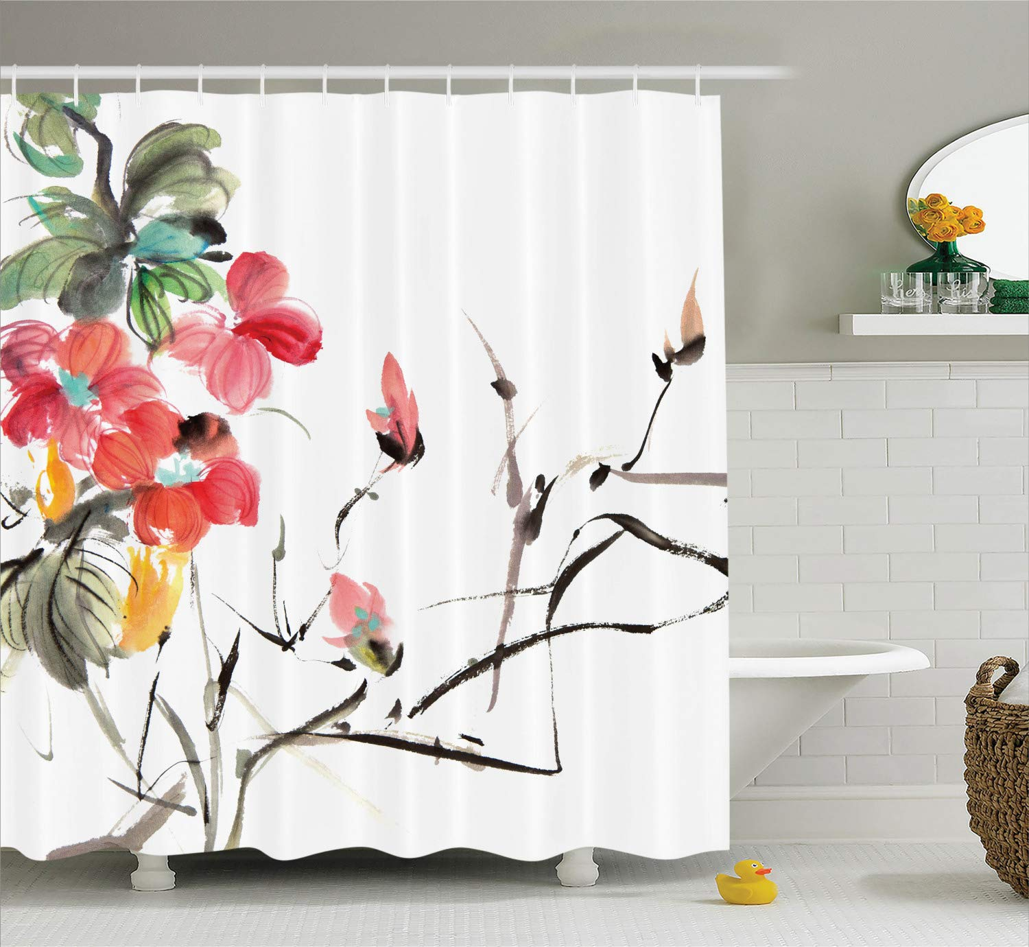 Ambesonne Japanese Decor Collection, Popular Early Period Asian Watercolors Design Print with Vivid Floral Motifs Art Picture, Polyester Fabric Bathroom Shower Curtain, 84 Inches Extra Long, Multi