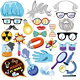 Kristin Paradise 25Pcs Science Photo Booth Props with Stick, Mad Scientist Selfie Props, Chemistry Laboratory Party…
