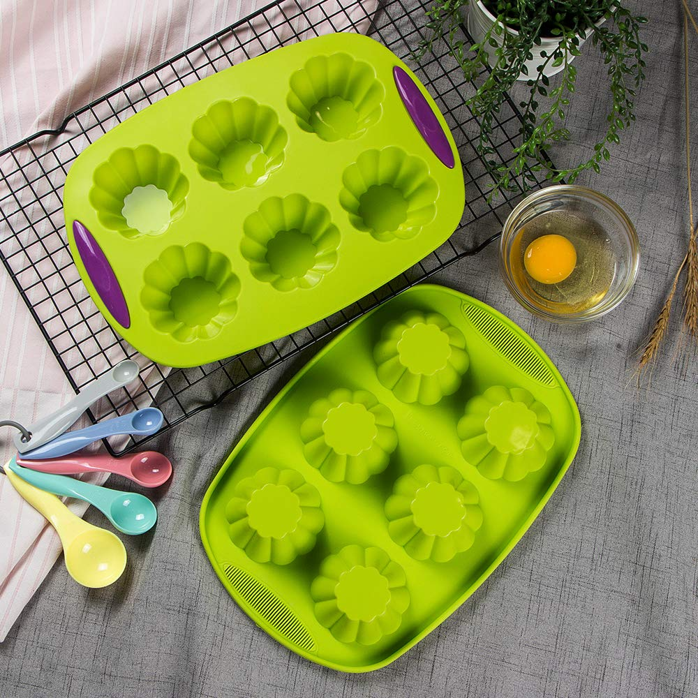 Webake Silicone Brioche Molds, 6 Cup Fluted Brioche Pans for Baking, Pudding, Tart, Muffin Cake Pan Flower Cake Mold Egg Bites Bakeware Set 2 Pack by Webake (Image #3)