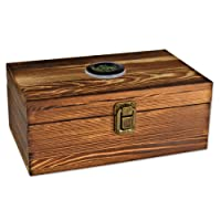 Wooden Cigar Humidor Box Cigar Humidifier Well Seal Design Cigar Storage Case Cigar Accessories Holder Organizer Digital Hygrometer Caddy Humidification System for Men Women Travel Fire Smoked Color