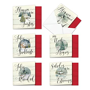 12 Boxed and Assorted Muy Bueno Holidays Blank Happy Holiday Note Cards w/Envelopes (Size 4 x 5.12 inch) - Spanish Merry Christmas Greetings - Feliz ...