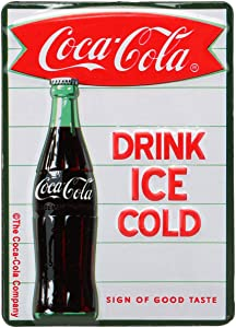 Open Road Brands Coca-Cola Drink Ice Cold Vintage Embossed Metal Magnet Art Sign - an Officially Licensed Product Great Addition to Add What You Love to Your Home/Garage Decor