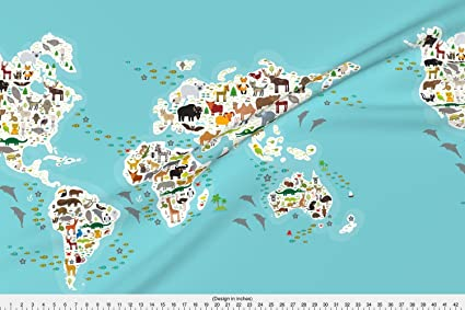 Amazon.com: Spoonflower Map Fabric Cartoon Animal World Map For ...