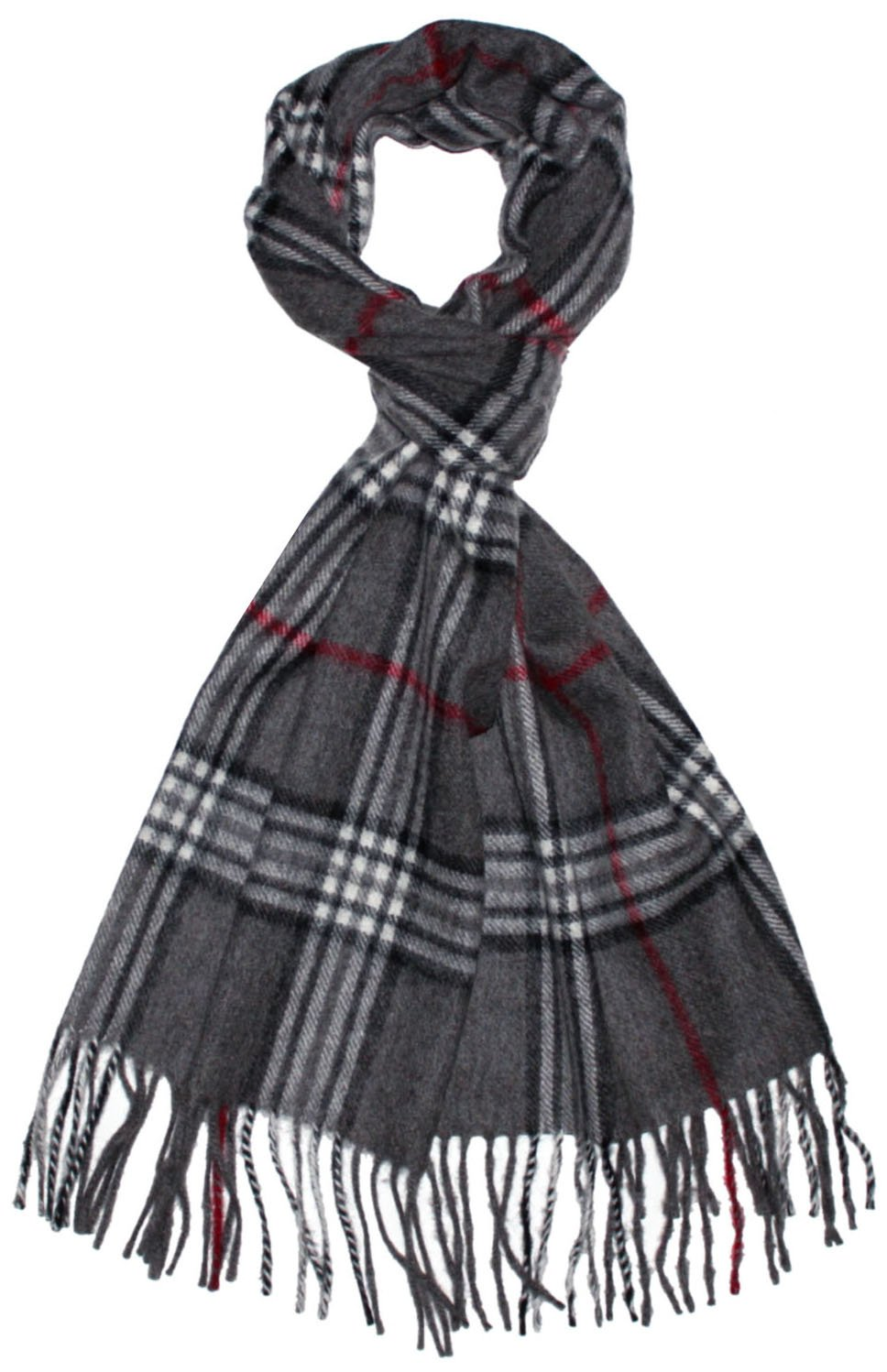 LORENZO CANA Cashmere Scarf Made in Europe 100% finest Cashmere Shawl Gray Check 12'' x 75'' 30 cm x 180 cm 9321511