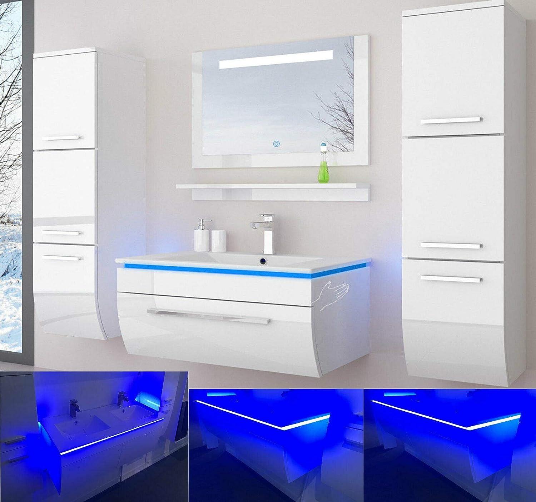 danny Badmöbelset 7 cm Weiss Vormontiert Badezimmermöbel  Waschbeckenschrank mit Waschtisch Spiegel 7 Hochschränke mit LED Hochglanz  lackiert