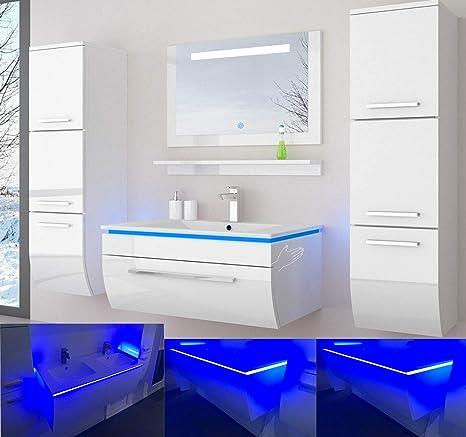 Badmobelset Badezimmermobel Komplett Set Waschbeckenschrank Mit Waschtisch Spiegel 2 Hochschranke Mit Led Hochglanz Fronten Weiss 70 Cm Vormontiert