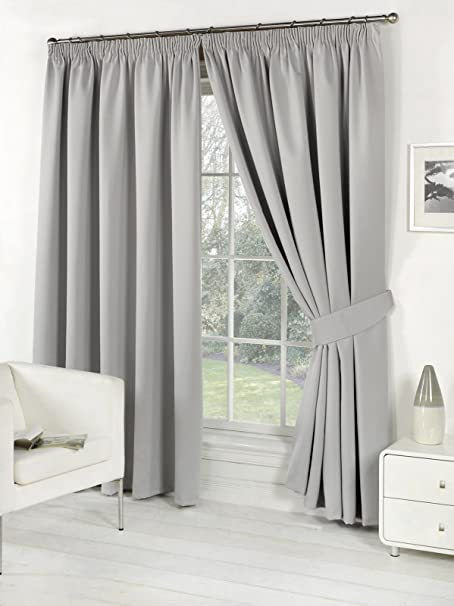 viceroy bedding Pair FAUX SILK Pencil Pleat Curtains INCLUDING PAIR OF  MATCHING TIE BACKS (46'' x 54'', Silver Grey): Amazon.co.uk: Kitchen & Home
