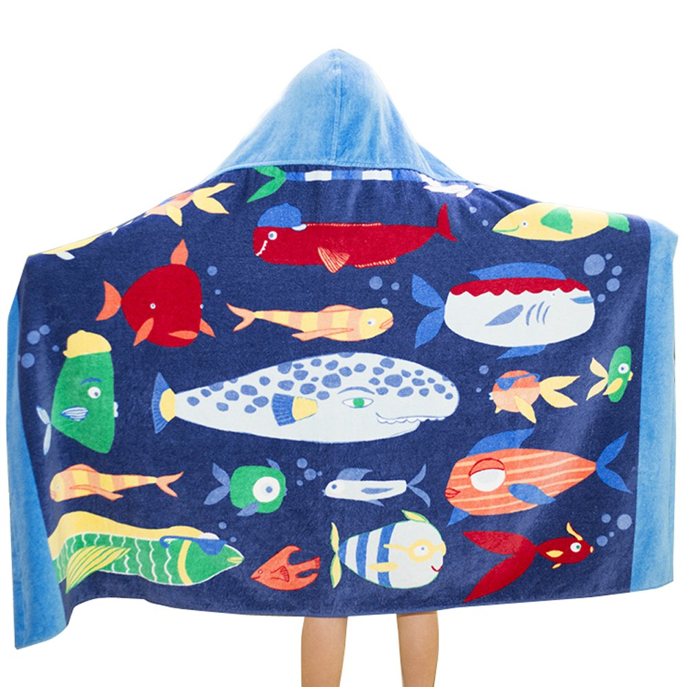 Comfysail Kids Hooded Beach Bath Towel 100/% Cotton Super Soft Childrens Poncho Swimming Girls Boys Boat