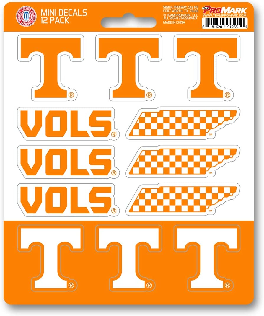 FANMATS NCAA Tennessee Volunteers Decal Set Mini (12 Pack), Team Color, One Size