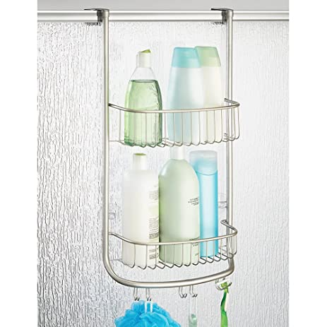 Charming MDesign Over The Door Shower Caddy For Bathroom For Shampoo/Conditioners  And Hooks
