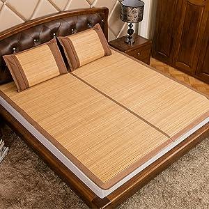 LJ&XJ Health Environmental Summer Sleeping mat,Foldable Cooling Mattress top mat Cooling Bamboo Sleeping pad Mattress,High Temperature Carbonization no Dyeing-A Queen2