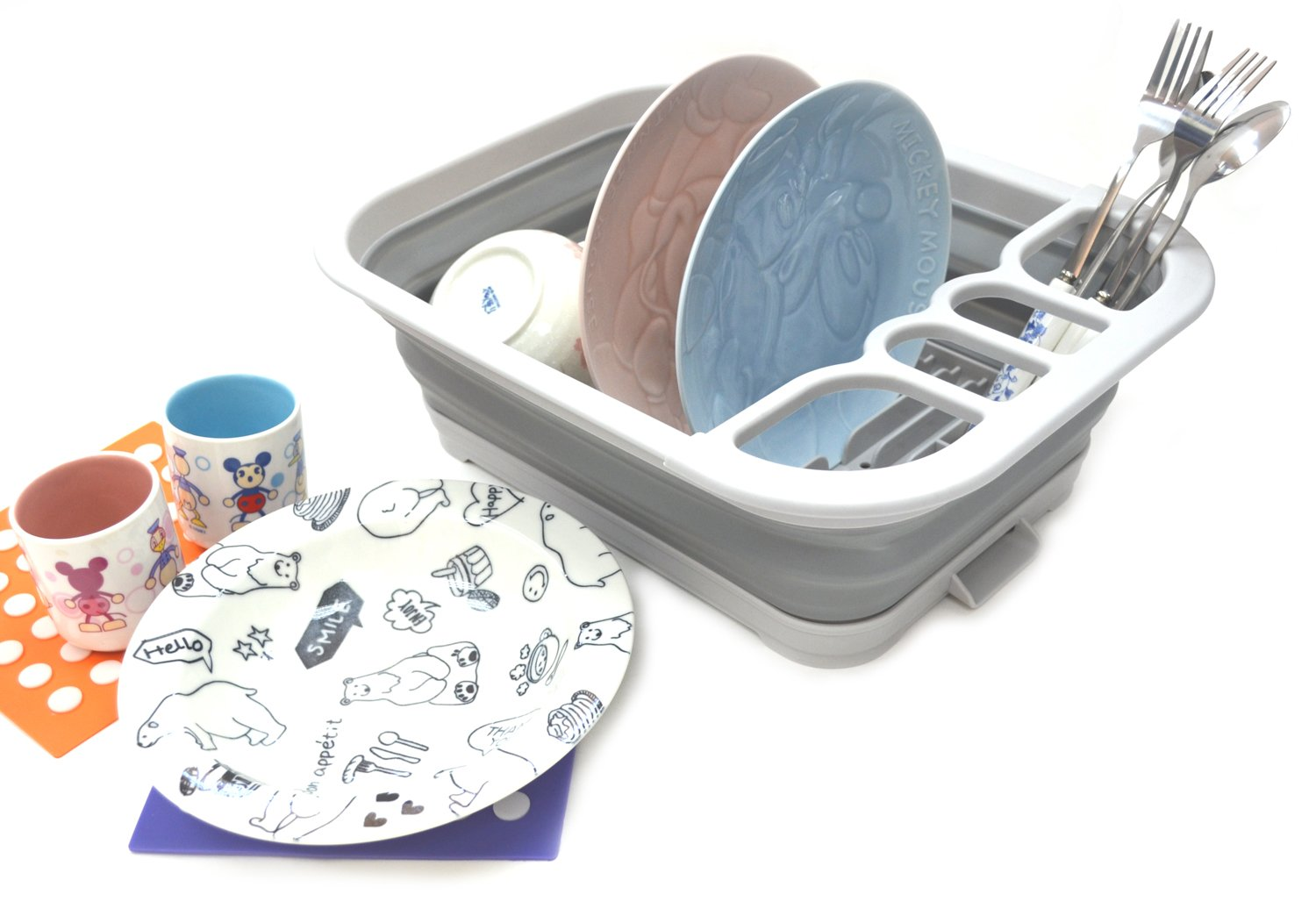 SAMMART Collapsible Dish Drainer with Drainer Board - Foldable Drying Rack Set - Portable Dinnerware Organizer - Space Saving Kitchen Storage Tray (S, Grey) by SAMMART