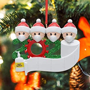 oceansEdge11 2020 Christmas Tree Ornament Quarantine Personalized Survivor Home Hanging Decor Family Members of 4 Ideas Gifts for Friends