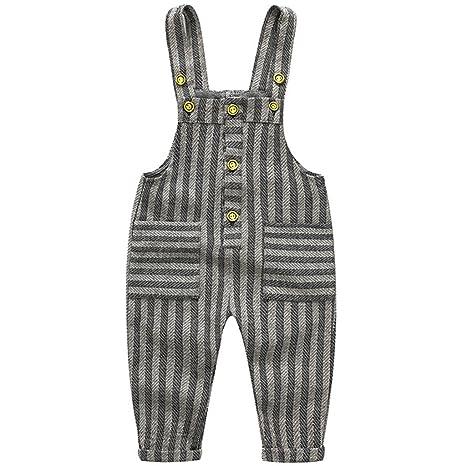 Bebé Pantalones de Peto Pantalones de punto Niños Niñas Overalls A rayas Pantalones Largo Ajustable 9