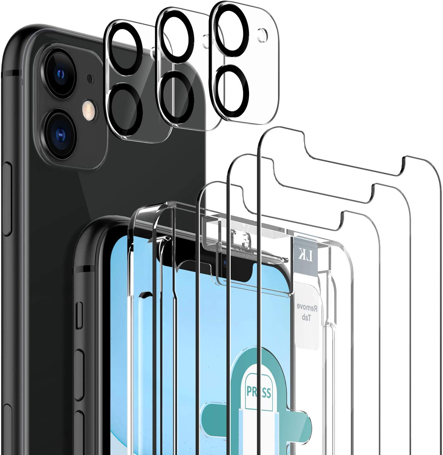 6 Pack LK 3 Pack Screen Protector with 3 Pack Camera Lens Protector Compatible with iPhone 11 6.1-inch, Tempered Glass, Case Friendly, Easy-Installation Tool, 9H Hardness