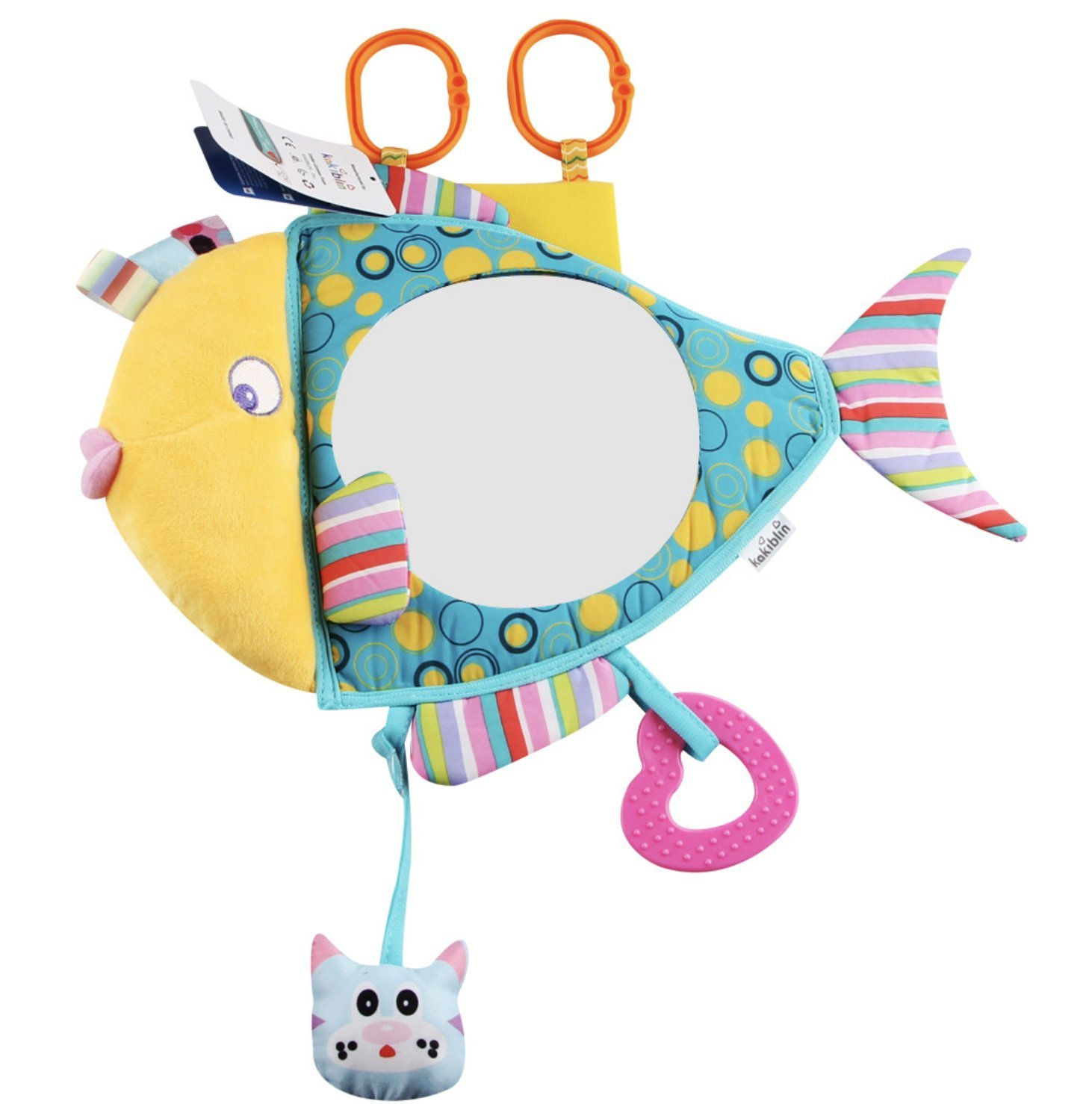 Fish Shaped Floor Mirror, Ealing Kids Discover & Play Activity In-Sight Backseat Mirror, Shatterproof Rear Facing Infant Car Safety Mirror, Plush rattles Toddler Stroller Hanging Educational Crib Toy