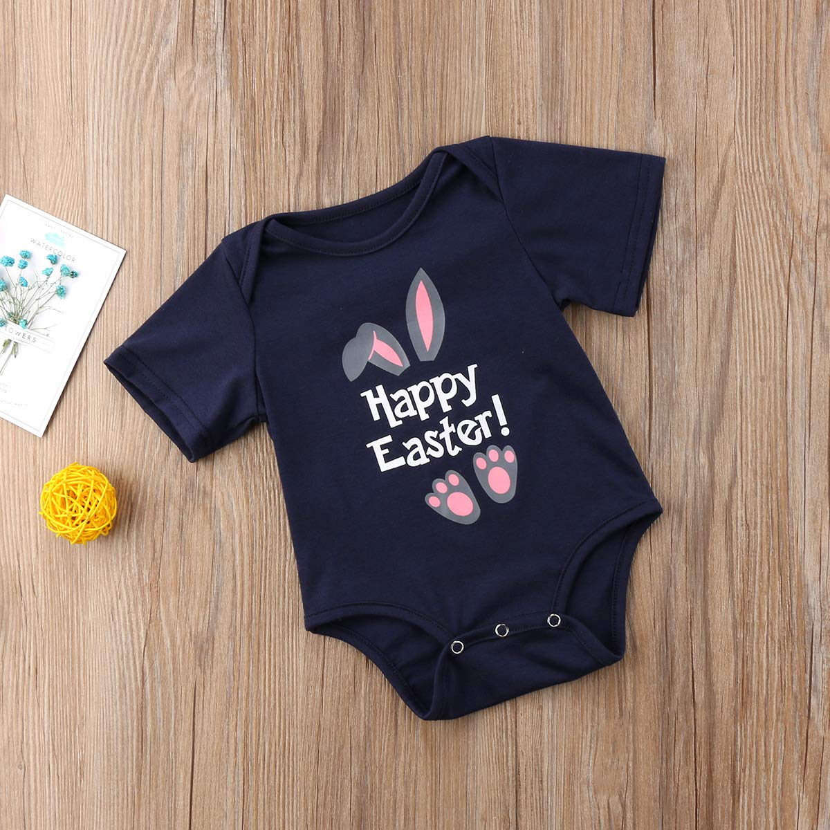 erherthertjtyj Easter Outfits for Newborn Infant Baby Boy /& Girl Bunny Print Romper One Piece Bodysuit Navy Blue