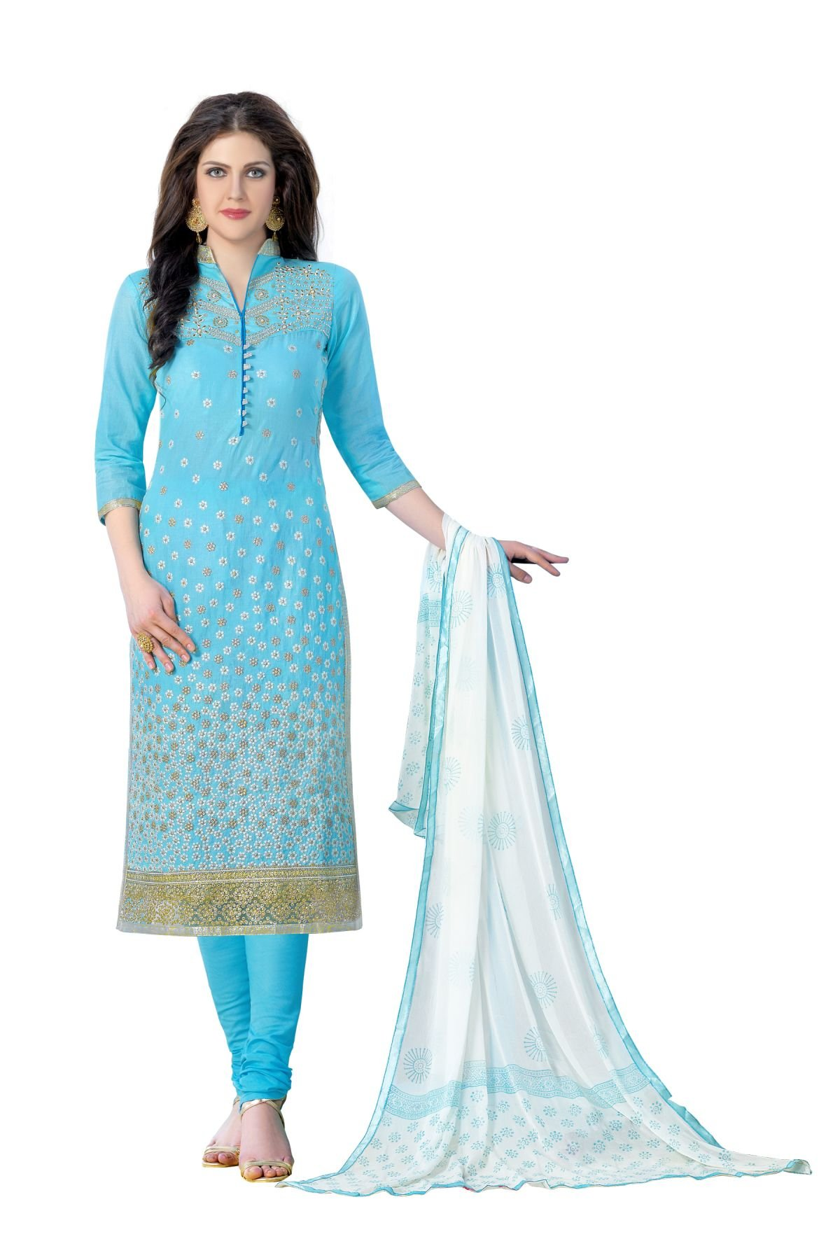 Areum Sky Blue Colored Pure Heavy Glass Cotton Embroidered Un-Stitched Dress Material For Women