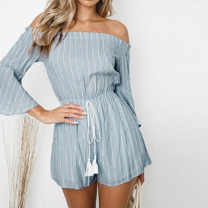 c191030f2202 Amazon.com  Maoyou Women s Slash Neckline Stripe Print Casual Romper High  Waist Bandages Solid Blue Mini Jumpsuit  Clothing