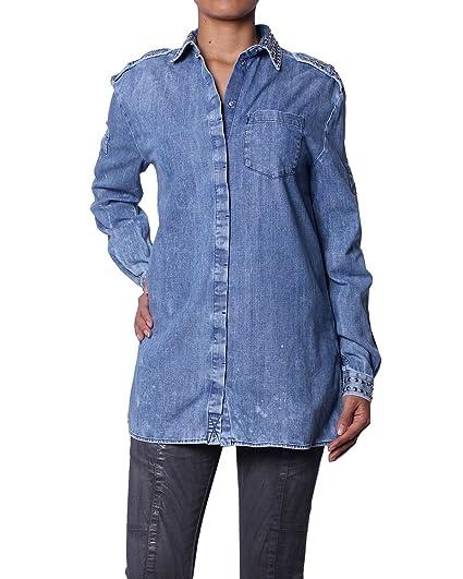 Pierre Balmain Camisa de Mezclilla con Tachuelas para Mujer  Amazon.es  Ropa  y accesorios 92cc7d5ca20