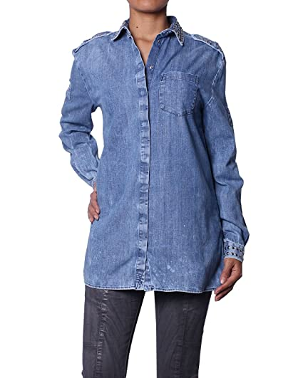 detailed look 59619 560c8 Pierre Balmain - Camicia di Jeans Borchiata da Donna - Blu ...
