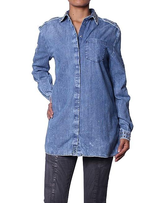 Pierre Balmain Camisa de Mezclilla con Tachuelas para Mujer - Azul, XXS (FR34/