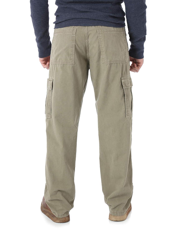 Barley Khaki Wrangler Mens Relaxed Fit Rip-Stop Cargo Pants Jean